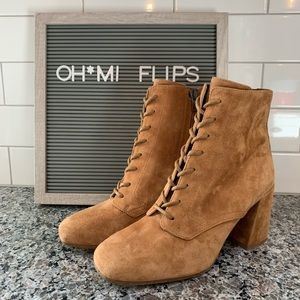 Vince Halle Suede Lace Up Booties NEW